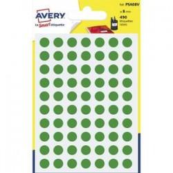 AVERY Sachet de 490 pastilles Ø8 mm. Ecriture manuelle. Coloris vert.