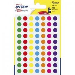 AVERY Sachet de 420 pastilles Ø8 mm. Ecriture manuelle. Coloris assortis.