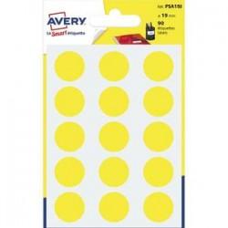 AVERY Sachet de 90 pastilles Ø19 mm. Ecriture manuelle. Coloris jaune.