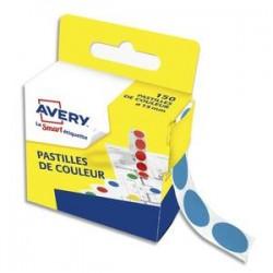 AVERY Boîte distributrice de 150 pastilles adhésives Ø15 mm. Coloris bleu.