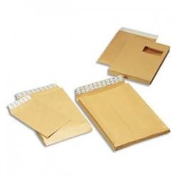 GPV Paquet de 50 pochettes kraft armé 3 soufflets C4 à fenêtre
