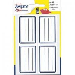 AVERY Pochette de 120 étiquettes cadre bleu avec lignes, 36x56 mm
