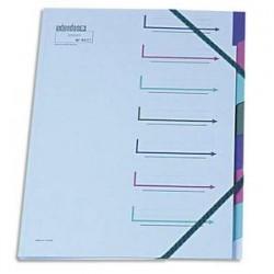EXTENDOS Trieur 12 compartiments bleu, en carte forte avec élastique de fermeture