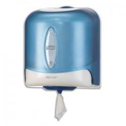 TORK Distributeur Maxi Reflex à dévidage central feuille à feuille L25x H30x P25 cm transparent fumé bleu