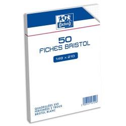 HAMELIN Sachet de 50 fiches bristol perforées 14,8x21cm 5x5 blanc
