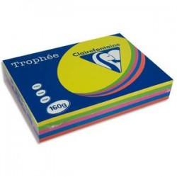CLAIREFONTAINE Ramette 5x50F papier Trophée 160g A4 assortis intense soleil,menthe,cardinal,bleuT,fuschia