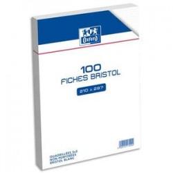 OXFORD Sachet de 100 fiches bristol non perforées 21x29,7 cm 5x5