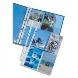 ELBA Sachet de 10 pochettes perforées en polypro 9/100. Format A4. 4+4 photos 10x15cm. Incolore.