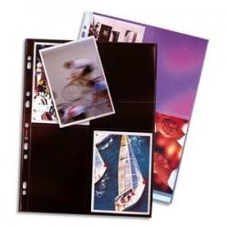 ELBA Sachet de 10 pochettes perforées en polypro 9/100. Format A4. 4+4 photos 10x15cm. Noir.