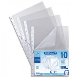 VIQUEL Sachet de 10 pochettes perforées à ouverture coin pour reliure Maxi-Géode polypropylène 8/100e