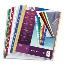 ELBA Sachet de 10 pochettes perforées en polypro lisse 10/100. Format A4, 11 trous. Renfort assortis.