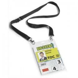 DURABLE kit porte badge évènementiel avec lacet textile, noir, format A6 PVC, boîte de 10