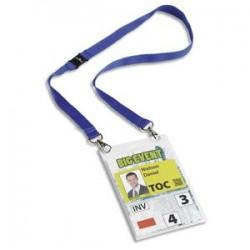 DURABLE kit porte badge évènementiel avec lacet textile, bleu, format A6 PVC, boîte de 10