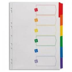AVERY Intercalaires 6 touches . En carte blanche, onglets plastifiés de couleur. Format A4