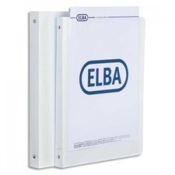 ELBA Classeur personnalisable 1 face . En polypropylène, 4 anneaux dos de 15 mm, blanc.