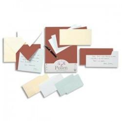 CLAIREFONTAINE Paquet de 20 enveloppes 120g POLLEN 11x22cm (DL). Coloris ivoire