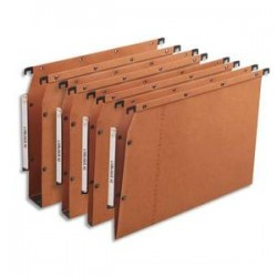 OBLIQUE AZ Boîte de 25 dossiers suspendus ARMOIRE en kraft 240g. Fond 15, bouton-pression. Orange