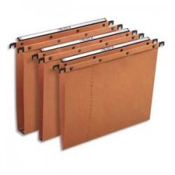 OBLIQUE AZ Boîte de 25 dossiers suspendus TIROIR en kraft 240g. Fond V, bouton-pression. Orange