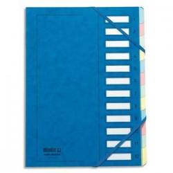 EMEY Trieur EMEY JUNIOR en carte avec système clip, 12 compartiments. Coloris bleu.