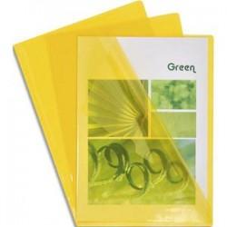 EXACOMPTA Boîte de 100 pochettes coin en PVC 14/100 ème. Coloris jaune.