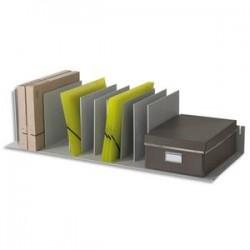 PAPERFLOW Trieur avec 10 séparateurs amovibles/crémaillères au pas 2,5 cm L92 x H21 x P27,5 cm gris