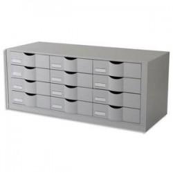 PAPERFLOW Bloc classeur à 12 tiroirs pour documents 24 x 32 cm - Dimensions L81,3 x H32,9 x P34,2 cm gris