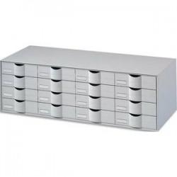 PAPERFLOW Bloc classeur à 16 tiroirs pour documents 24 x 32 cm Dimensions L107,6 x H32,9 x P34,2 cm gris
