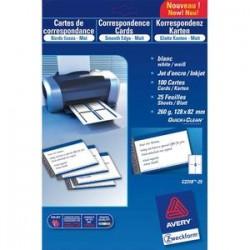 AVERY Pochette de 80 cartes de visite (85x54 mm) 260g coins droits jet d'encre finition mate