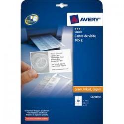 AVERY Pochette de 250 cartes de visite microperforées (85x54 mm) 185g coins droits finition mate