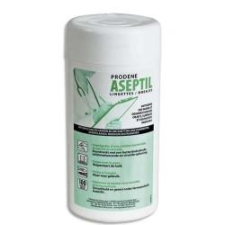 ASEPTIL Boîte de 100 Lingettes antiseptiques et désinfectantes pour mains et objets Bactéricide