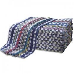 HYGIENE Lot de 6 Torchons de travail en bouclette 100% coton motif damier - Format : 75 x 45 cm