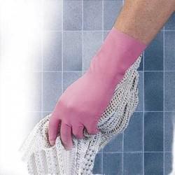 MAPA Lot de 10 paires de Gants ménage en latex relief antidérapant intérieur coton L30 cm Taille 7 rose