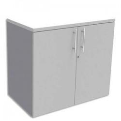 SIMMOB Armoire Basse aluminium 1 tablette avec porte, top Blanc perle EXPRIM - Dim. : L80 x H72 x P47 cm