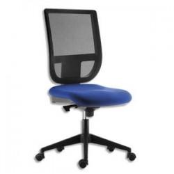 Siège Tertio dossier résille noir et assise tissu bleu, à mécanisme synchrone, sans accotoirs