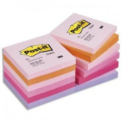 POST-IT Lot de 12 blocs repositionnables coloris PLAISIR dimensions 76x76mm