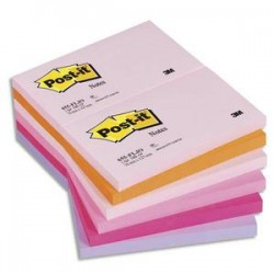POST-IT Lot de 12 blocs repositionnables coloris PLAISIR dimensions 76x127mm