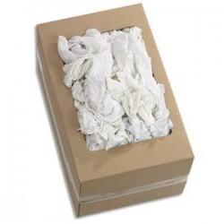 HYGIENE Boîte de 10 Kg de Chiffons en coton blanc Jersey - Format : 60 x 40 cm