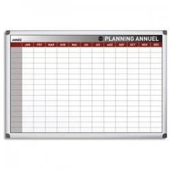 BI-OFFICE Planning Bi-Office annuel perpétuel magnétique - Dim. L90 x H60 cm blanc/gris