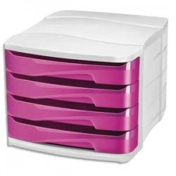 CEP Module de classement GLOSS 4 tiroirs - Dimensions L29,2 x H24,6 x P38,6 cm. Coloris rose pepsy