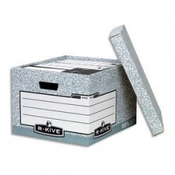 BANKERS BOX Caisse XL L38xh28,7xp43cm, montage automatique, carton recyclé gris/blanc