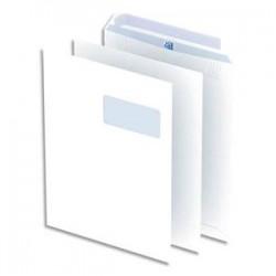 OXFORD Boîte de 250 pochettes blanches auto-adhésives 100g format C4 229x324 mm avec fenêtre 55x100 mm