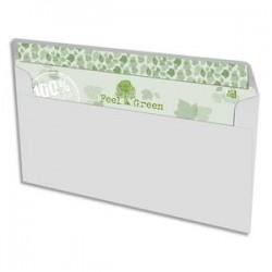 OXFORD Boîte de 500 enveloppes recyclées extra blanches 90g format DL 110x220 mm