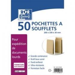 OXFORD Paquet de 50 pochettes kraft armé blond auto-adhésives 120g format 24 260x330 à soufflets de 30 mm