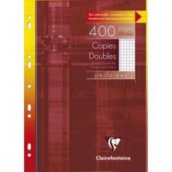 CLAIREFONTAINE Etui 400 pages Copies doubles perforées blanches A4 5x5 margé