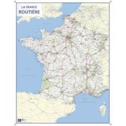 CBG carte murale route de France - Pelliculée format 66 x 84,5 cm - 4 oeillets pour suspension