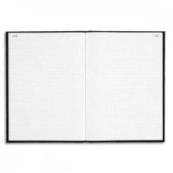 LE DAUPHIN Registre toile noir 22,5 x 34 cm vertical quadrillé 5x5 numéroté 500 pages