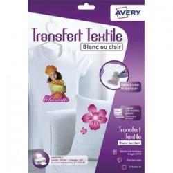 AVERY Boîte de 8 feuilles transferts pour tee-shirt blanc ou clair