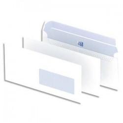 OXFORD Boîte de 500 enveloppes blanches auto-adhésives 90g format DL 110x220 mm avec fenêtre 45x100 mm