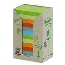 POST-IT Tour 24 blocs 100f 38x51mm 100% recyclé. Coloris assortis gris,bleu,vert clair,vert mousse