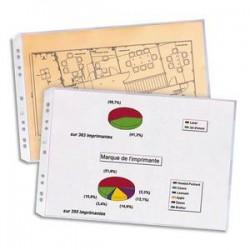 ELBA Sachet de 10 pochettes perforées en PVC 10/100. Format A3 à l'italienne ou A3 plié (A4), 9 trous.